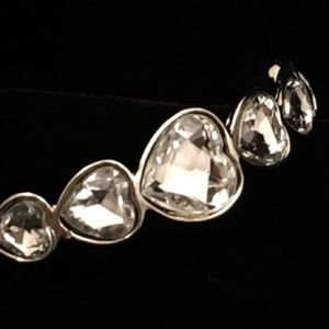 Crystal Hearts Silver Bracelet